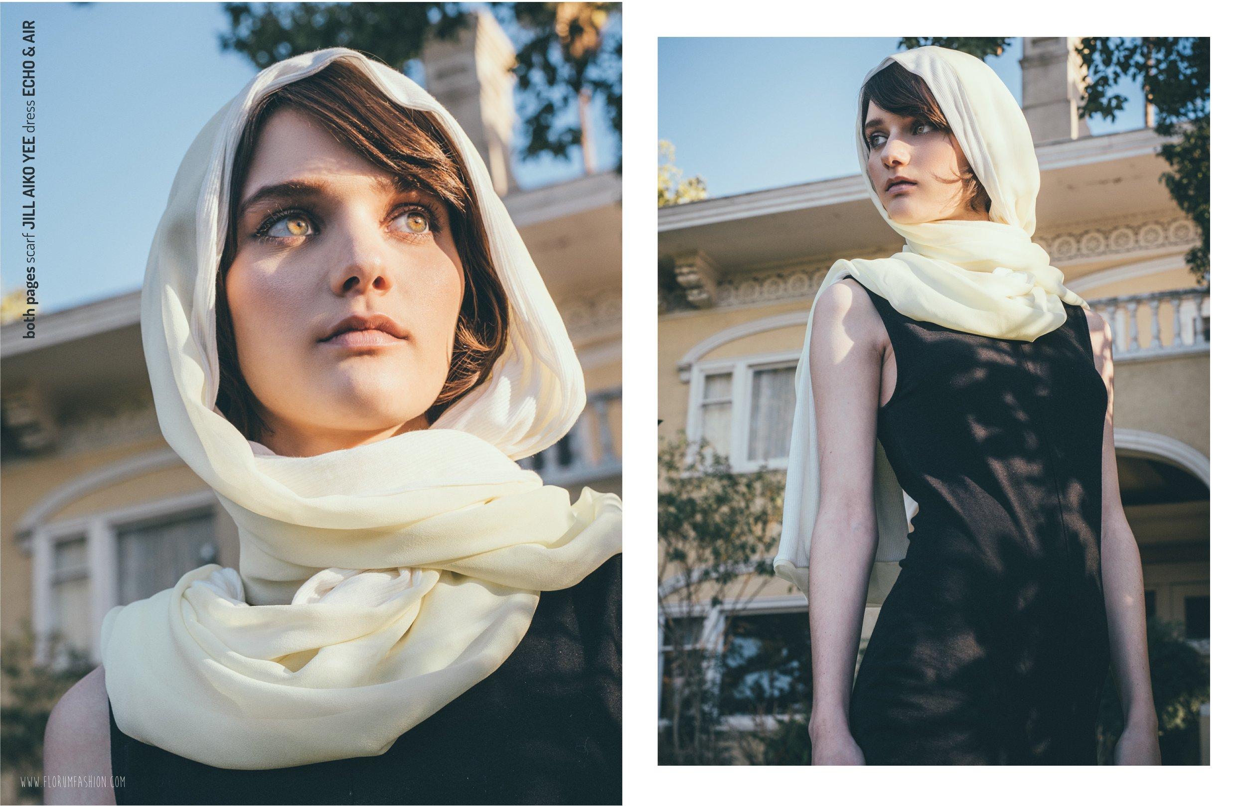 both pages  I   scarf  JILL AIKO YEE    dress  ECHO & AIR