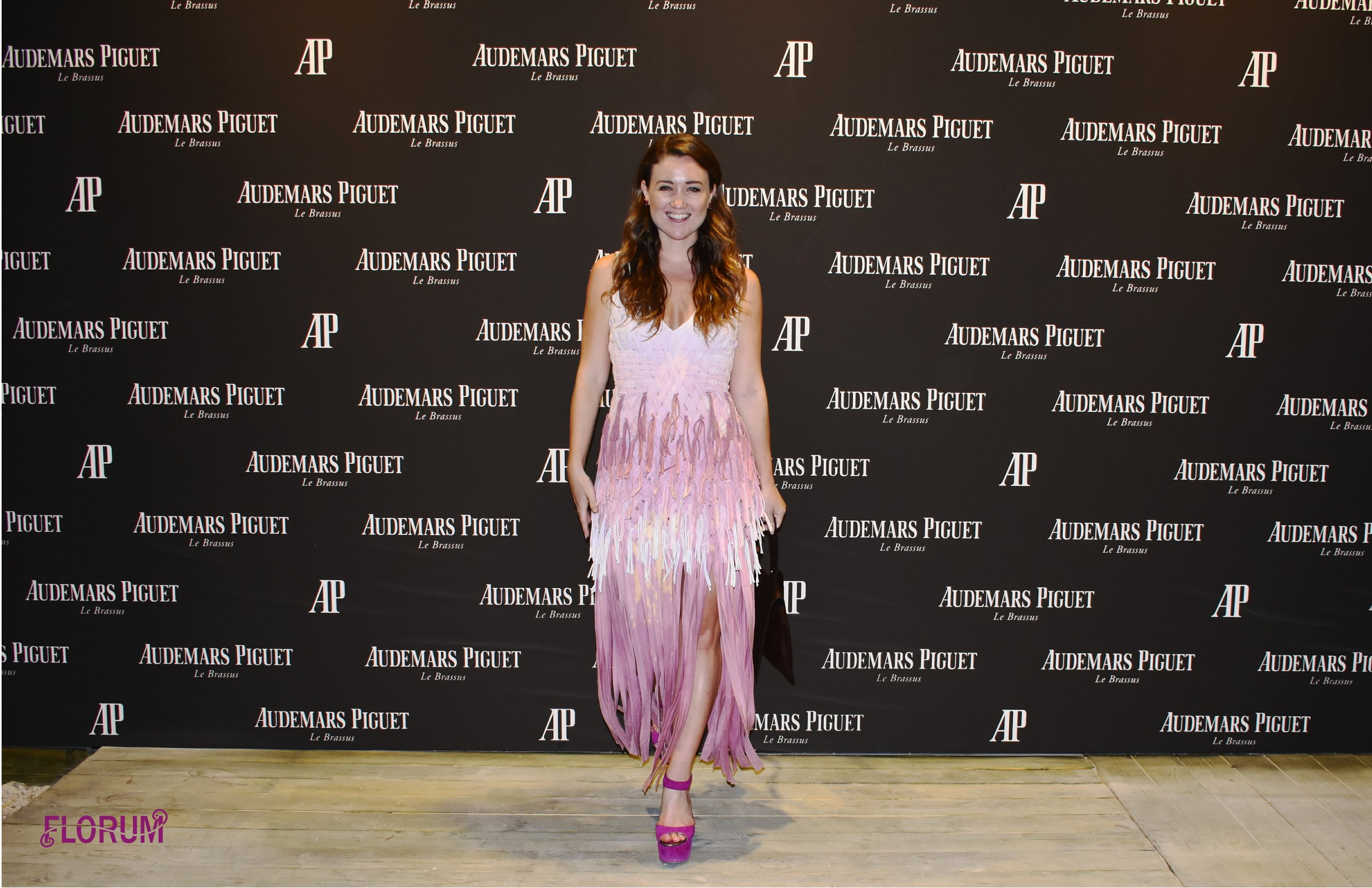 Noelle Lynne wearing an ethically made dress, designed out of recycled t-shirts from sustainable Miami designer  Seajasper  at the opening night of the  Audemars Piguet innovative lounge of Art Basel  2017.