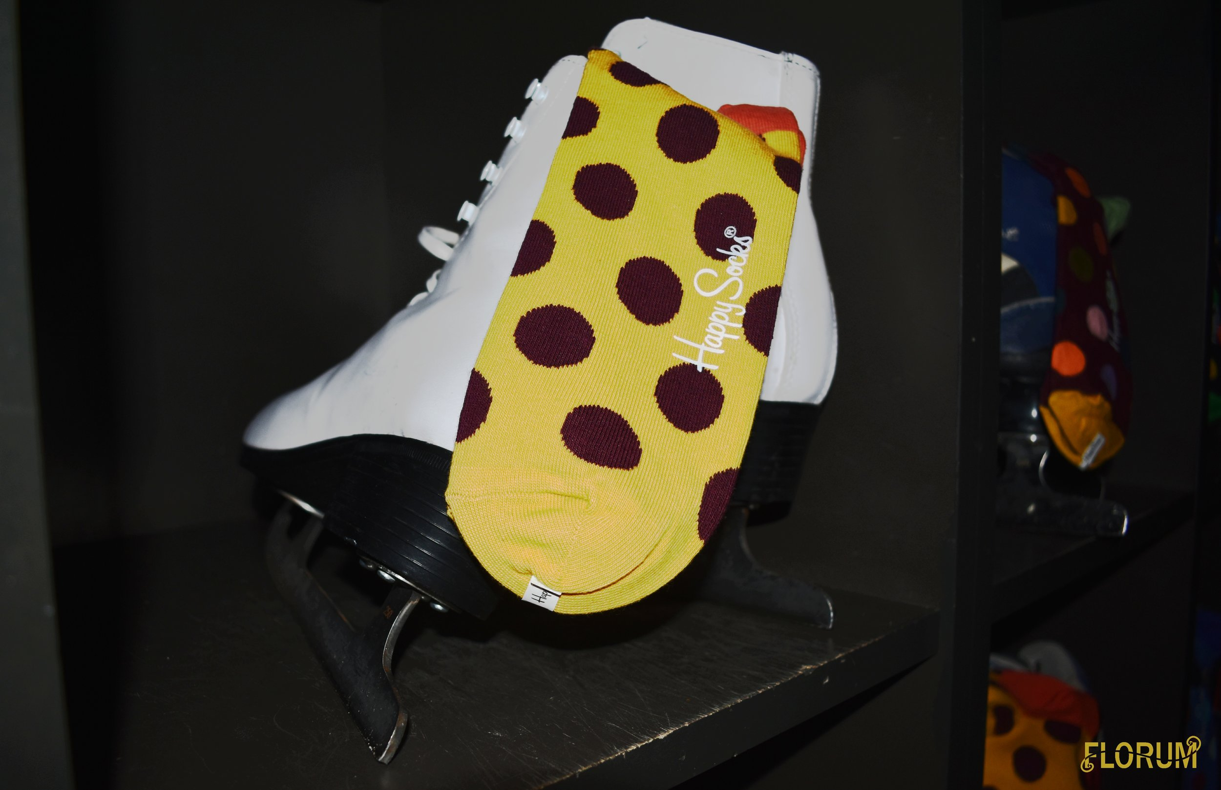 Such a fun  party favor was the Happy Socks  that were offered for both the ice skates and bowling shoes.