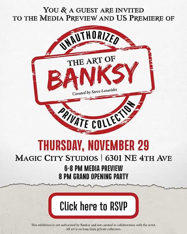 the art of banksy - art basel 2018 miami - florum fashion magazine press preview and vip reception