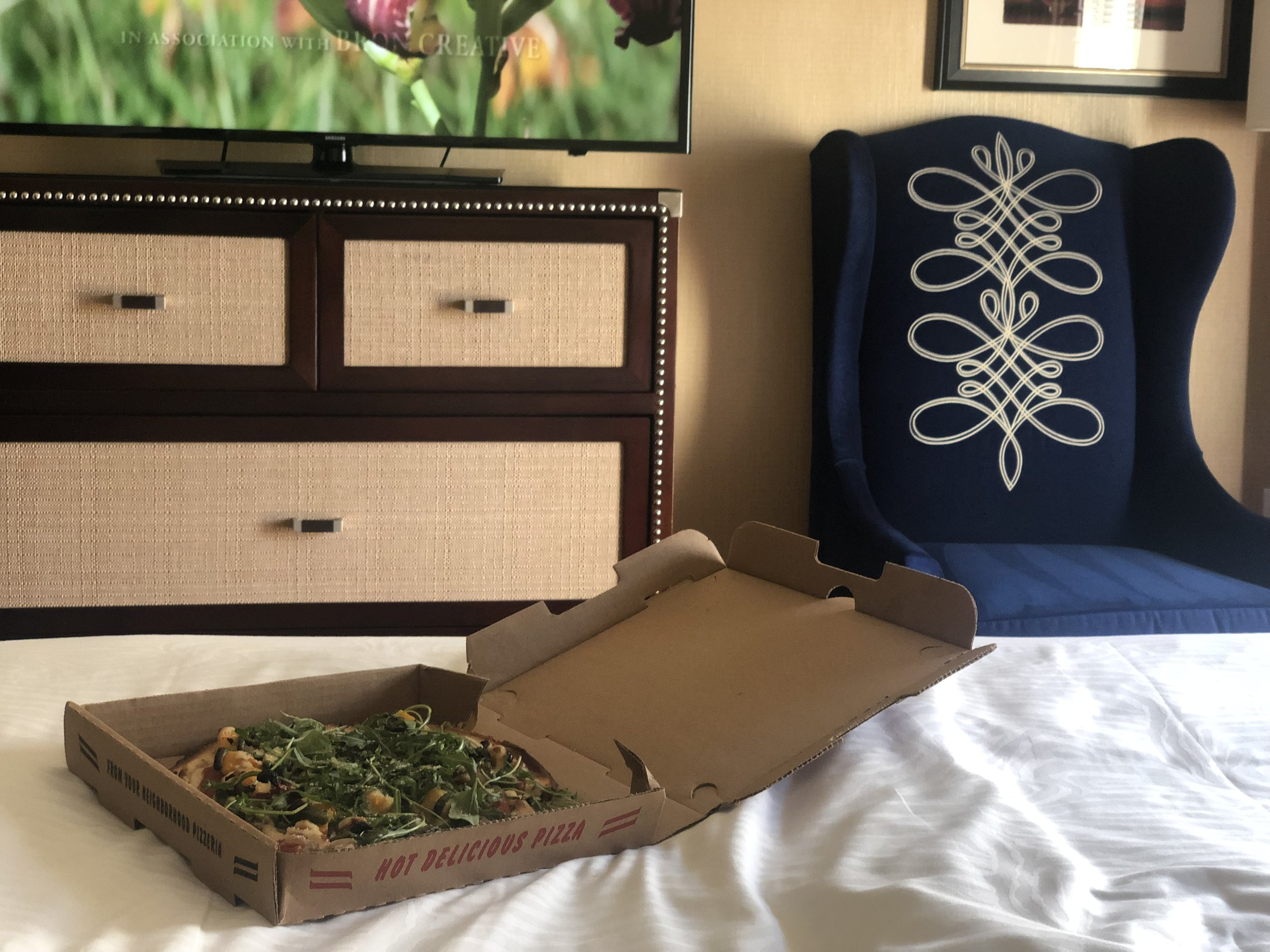 - vegan pizza & a movie in bedOne of my favorite things about travel and staying in a hotel, is comfortable bed and vegan takeout. I was super lucky to find a vegetarian & vegan called Zest Kitchen & Bar that was only a half mile from Hotel Monaco.They also offer delivery via Seamless (if you haven't signed up before, CLICK HERE for $12 off your first order of $15 or more)