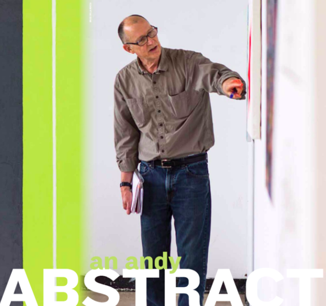 """An Andy Abstract - Andy Spence does not display his own work in the office, except for one piece: an 8 x 4 foot test sheet. Kraft paper with a superimposed slide of an older painting he had blown up and silk screened. It looks like a large """"M,"""" crossed out, retraced, crossed out, retraced. """"M, like mistake,"""" he says smiling. [the full story]"""