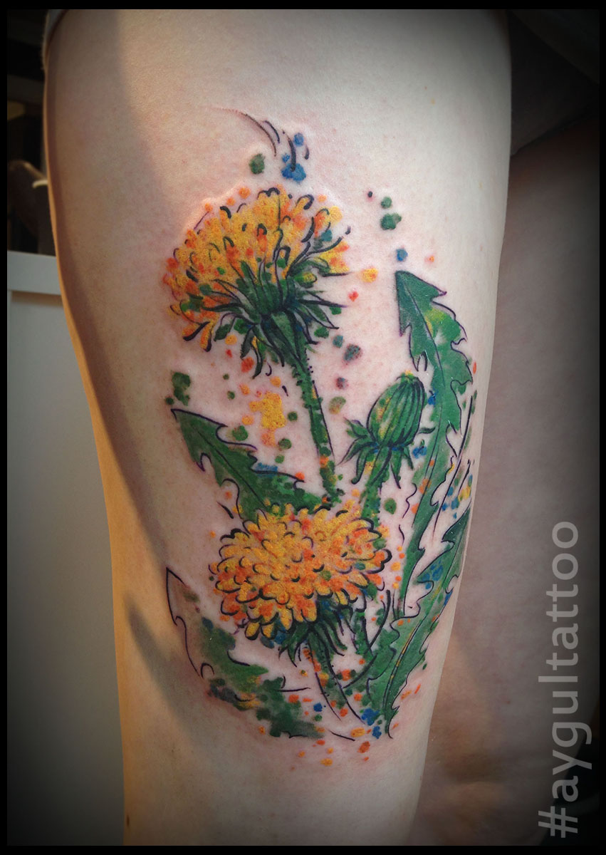 #dandelion #color #flower #aygultattoo
