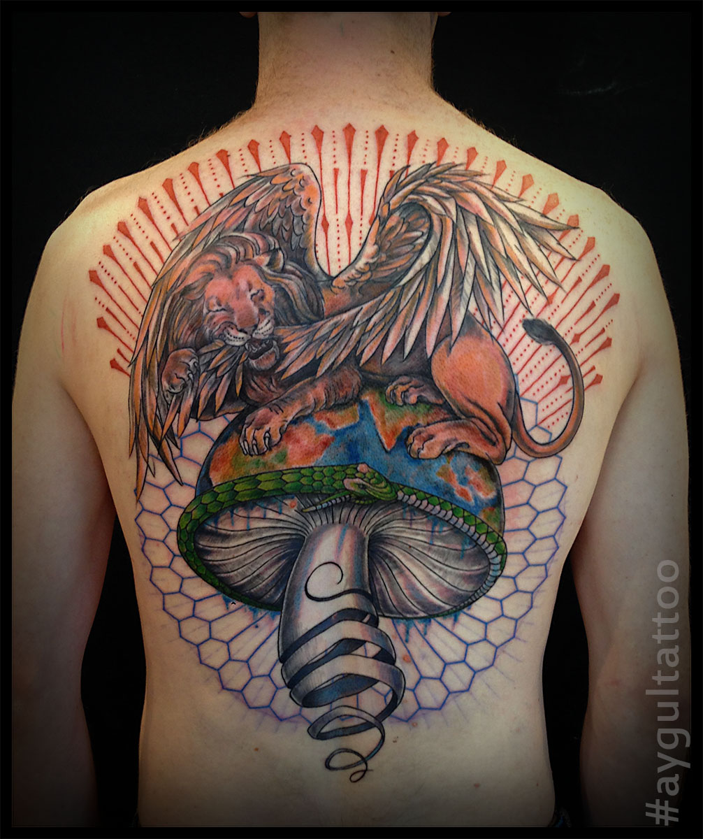 #lion #mushroom #color #geometry #aygultattoo