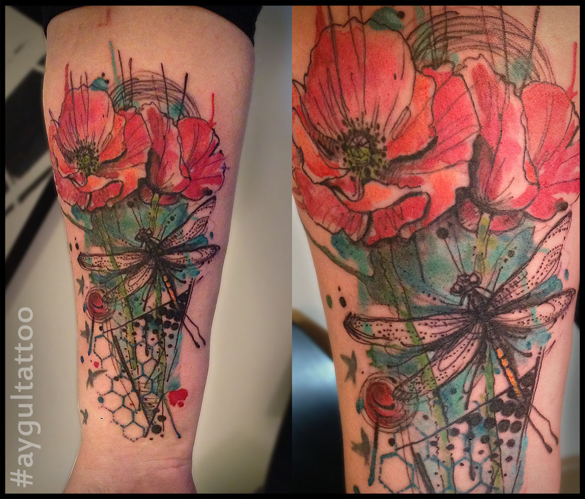 #poppy #dragonfly #color #aygultattoo