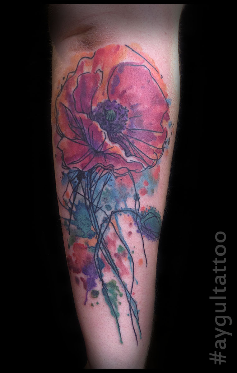 #poppy #seed #flower #watercolor #aygultattoo