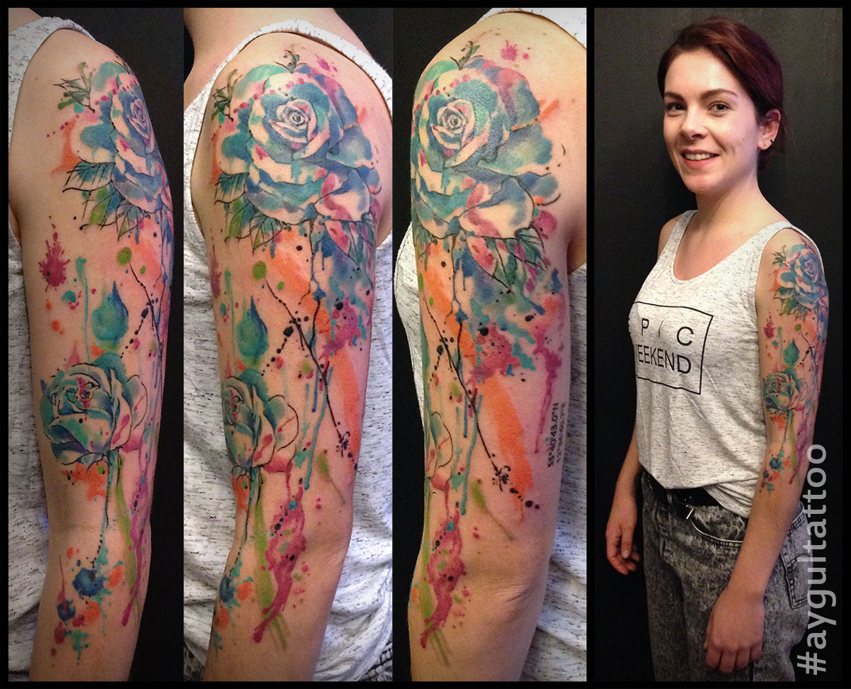 #roses #flowers #watercolor #sleeve #aygultattoo