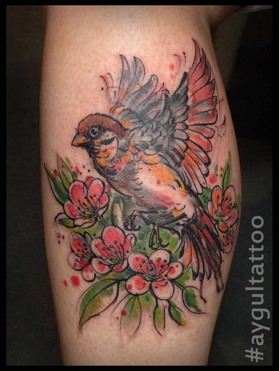 #sparrow #bird #color #aygultattoo