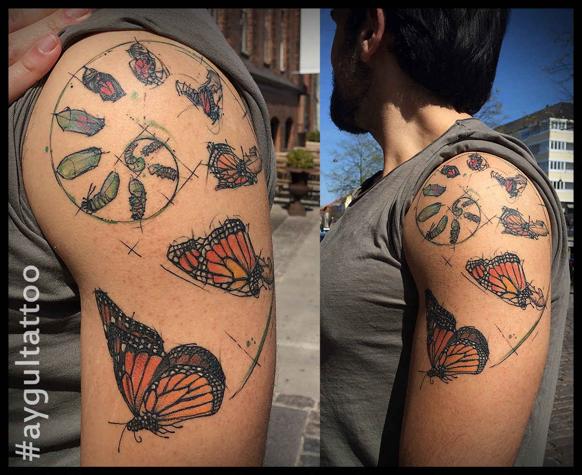 #butterfly #transformation #sketchy #shoulder #tattoo #aygultattoo
