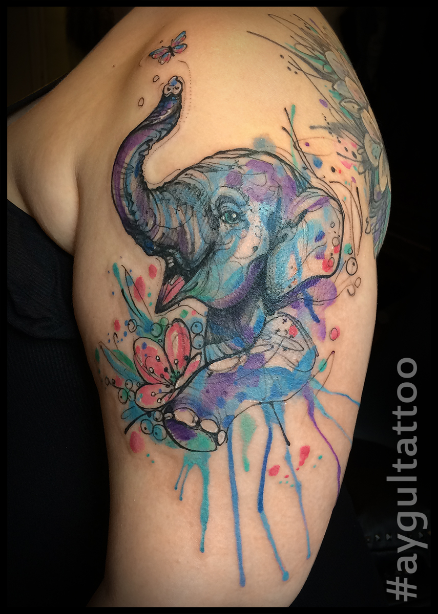 #elephant #watercolor #shoulder #tattoo #aygultattoo