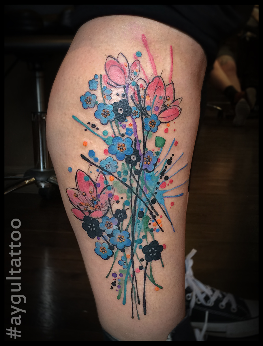 #flowers #splash #watercolor #sketchy #tattoo #aygultattoo