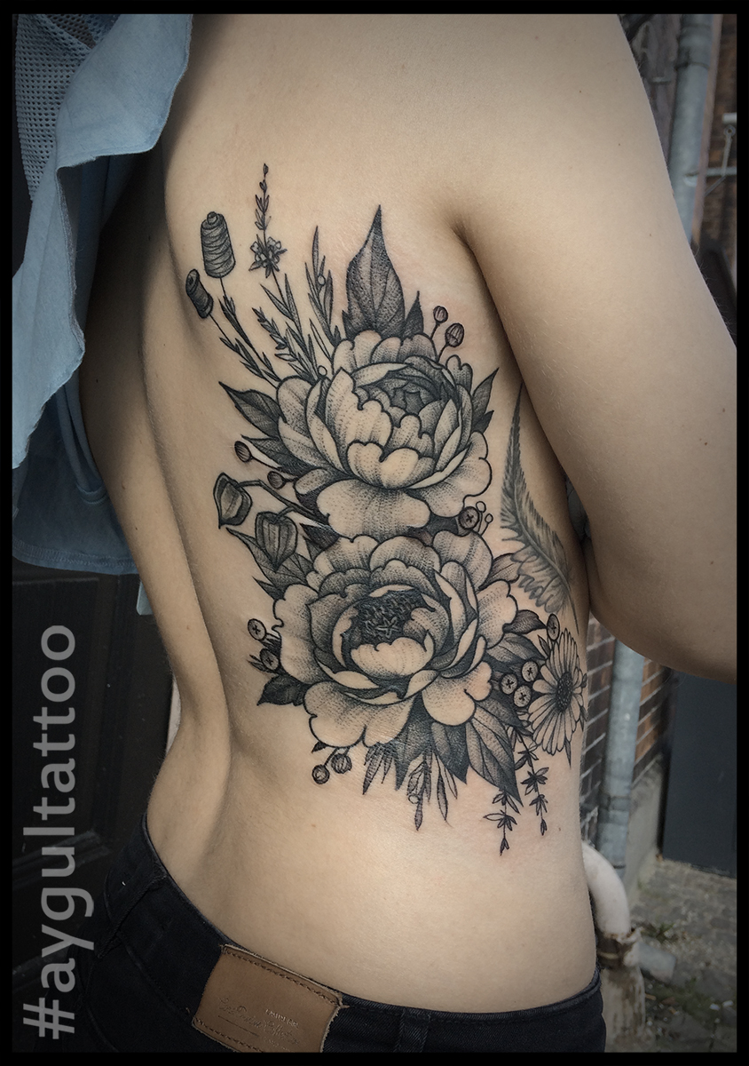 #peony #sketchy #back #tattoo #aygultattoo