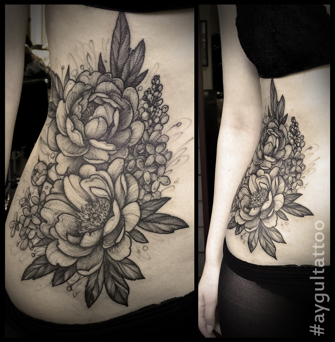 #peony #sketchy #waist #tattoo #aygultattoo