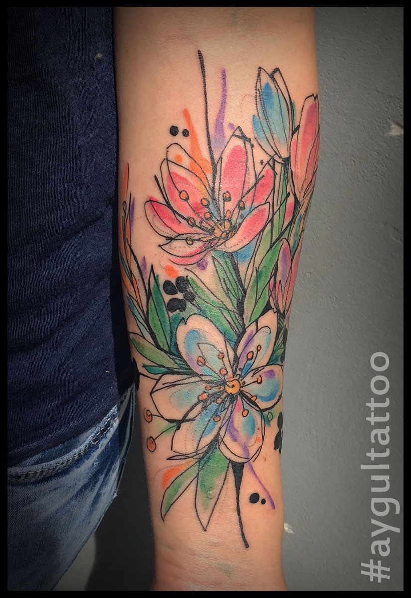 #flowers #watercolor #skechy #aygultattoo