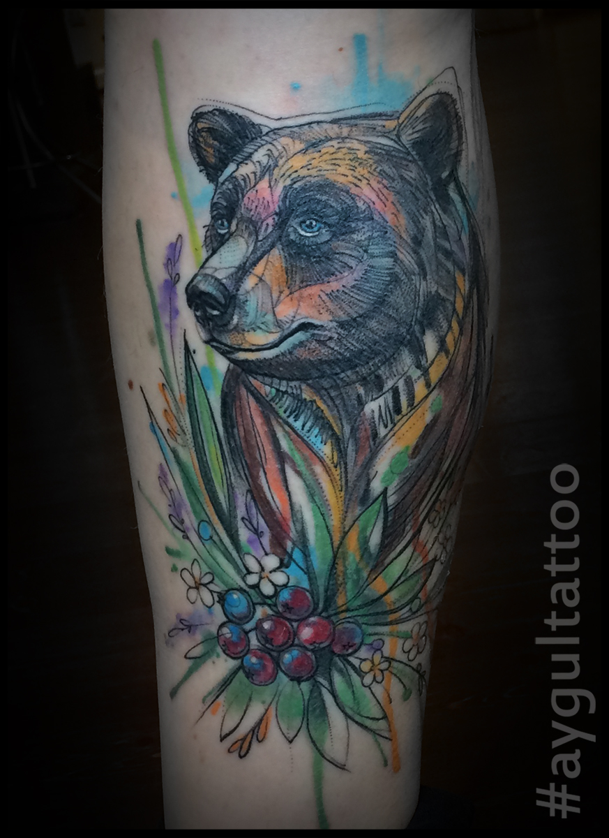 #bear #berries #watercolor #aygultattoo