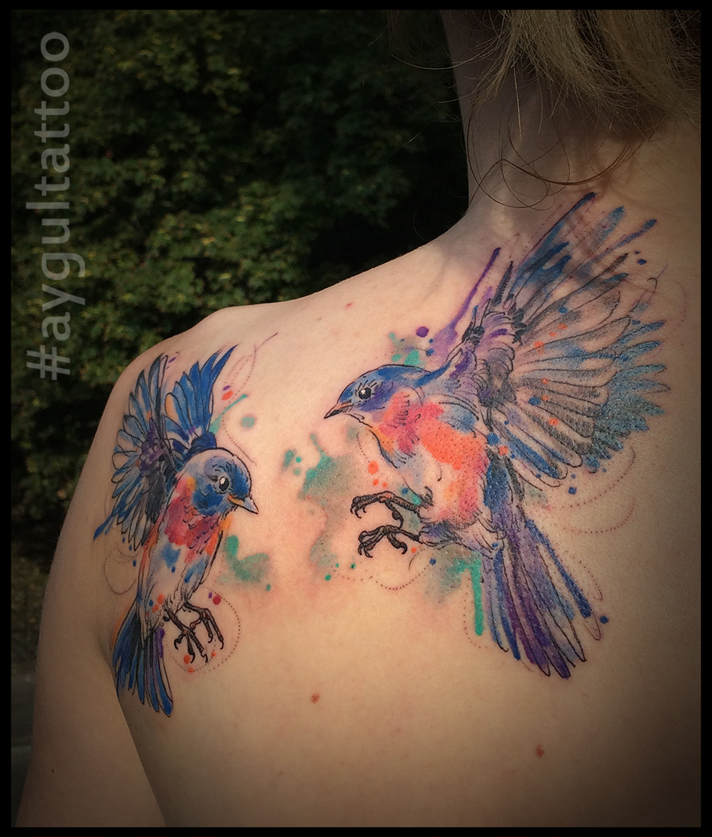 #bluebirds #watercolor #aygultattoo