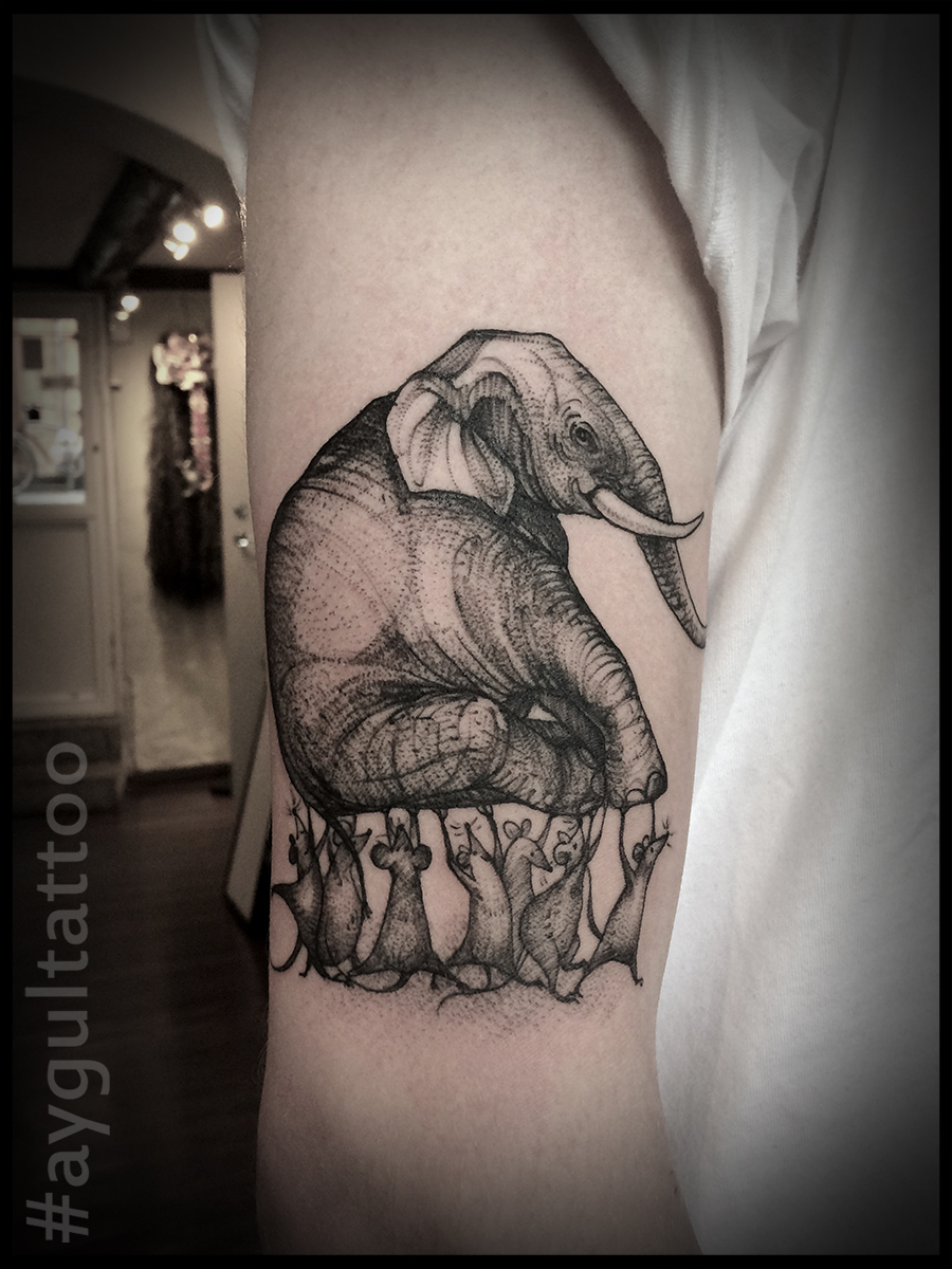#elephant #carried #by #mice #sketchy #aygultattoo
