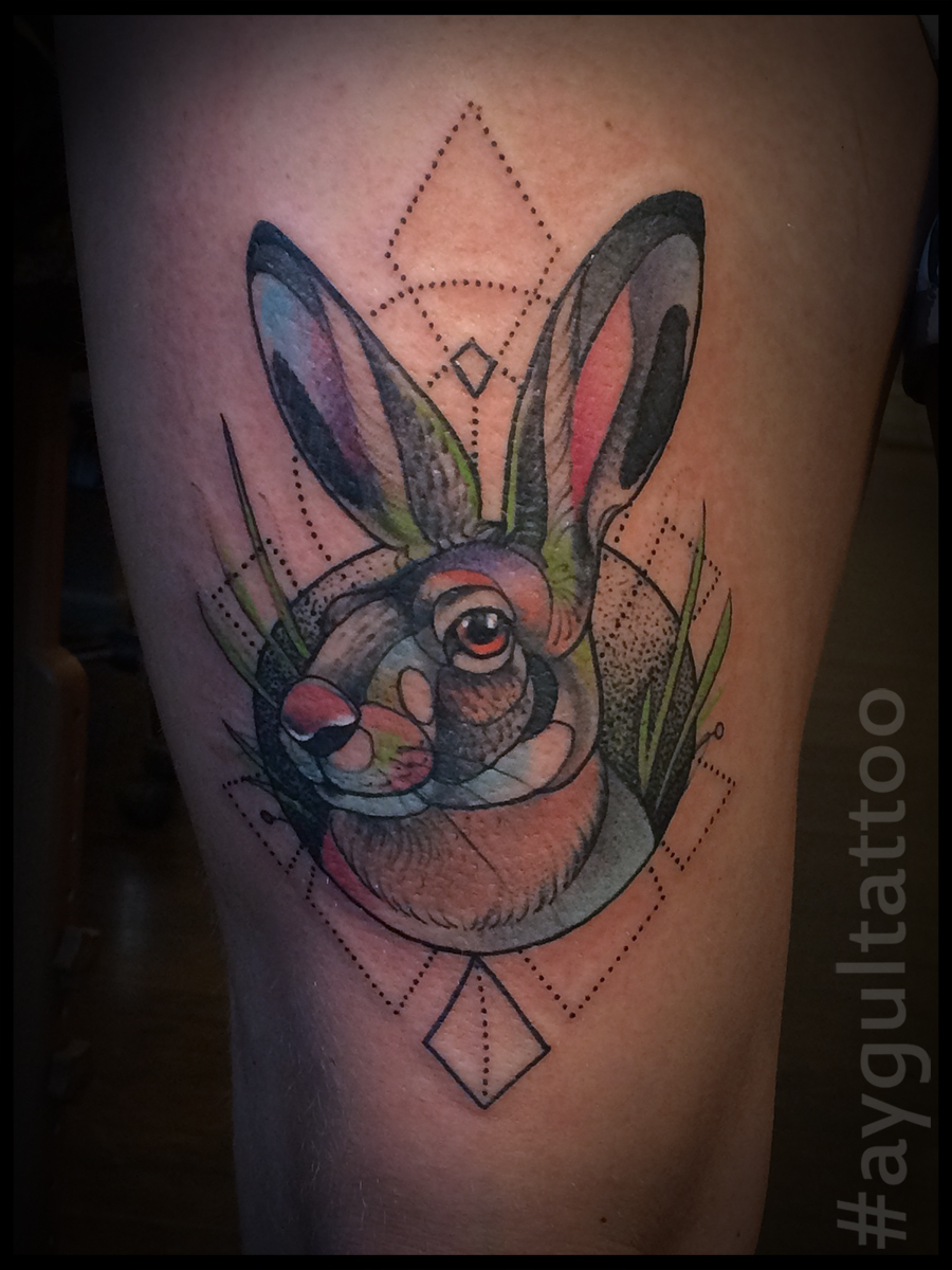 #hare #watercolor #geometry #aygultattoo