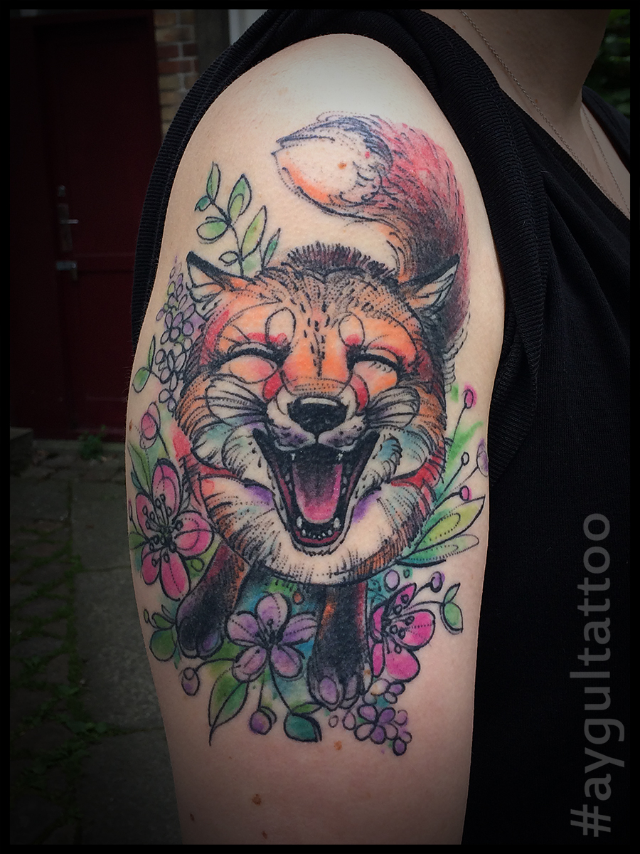 #happy #fox #watercolor #aygultattoo