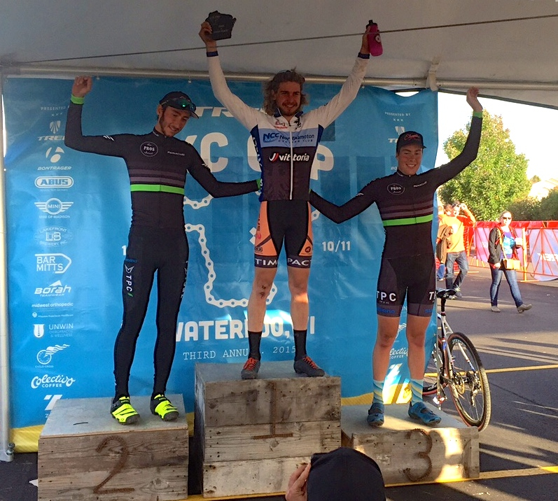 Scott Smith at the top of the podium after winning the U23 at the Trek CXC in Madison on October 10.