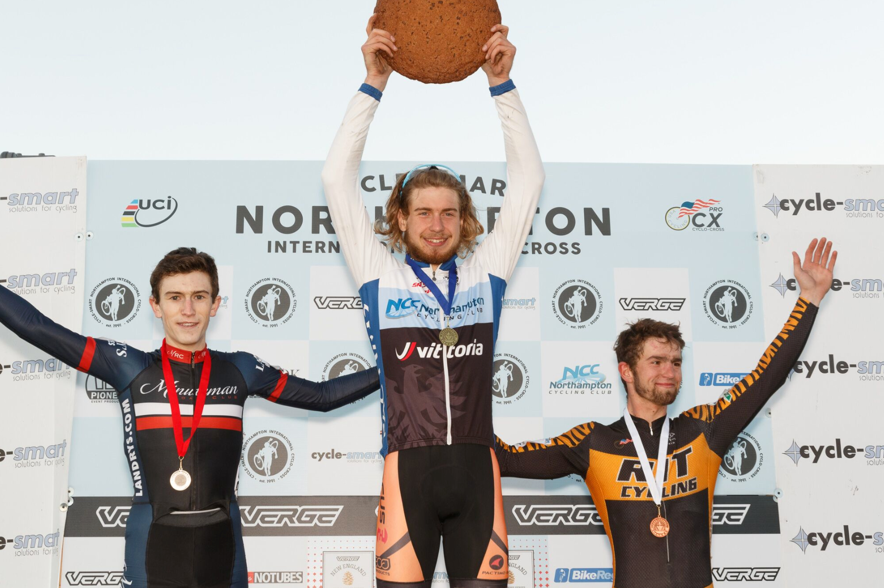 Victory is sweet! Scott Smith won the U23 at the Cycle-Smart Northampton International on Saturday and Sunday. Tart Baking Co. supplied the winner's cookie. Photo by Todd Prekaski.