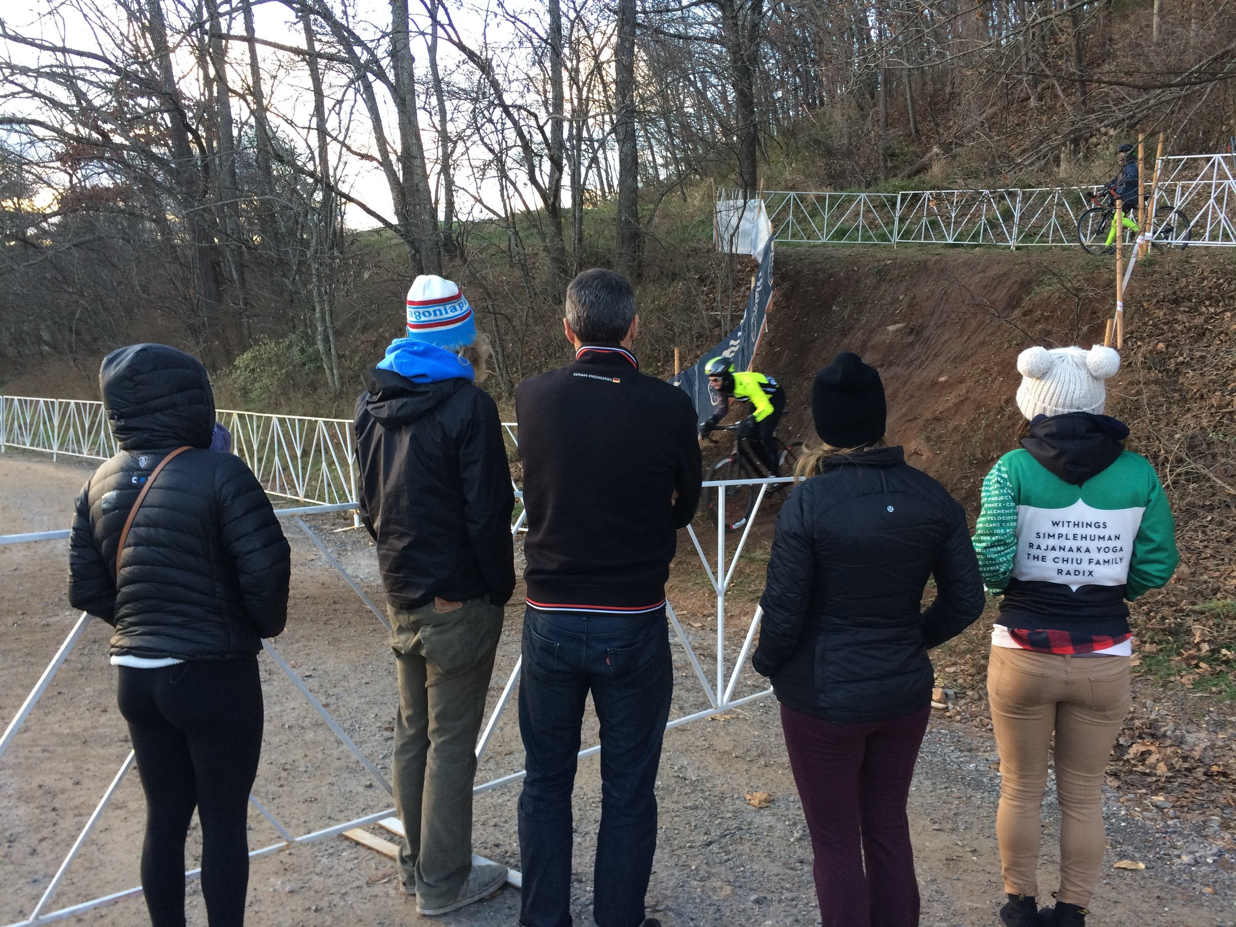 JAM/NCC/Vittoria team and friends survey the Cyclocross National Championship course while riders practice the drop on Jan. 4.