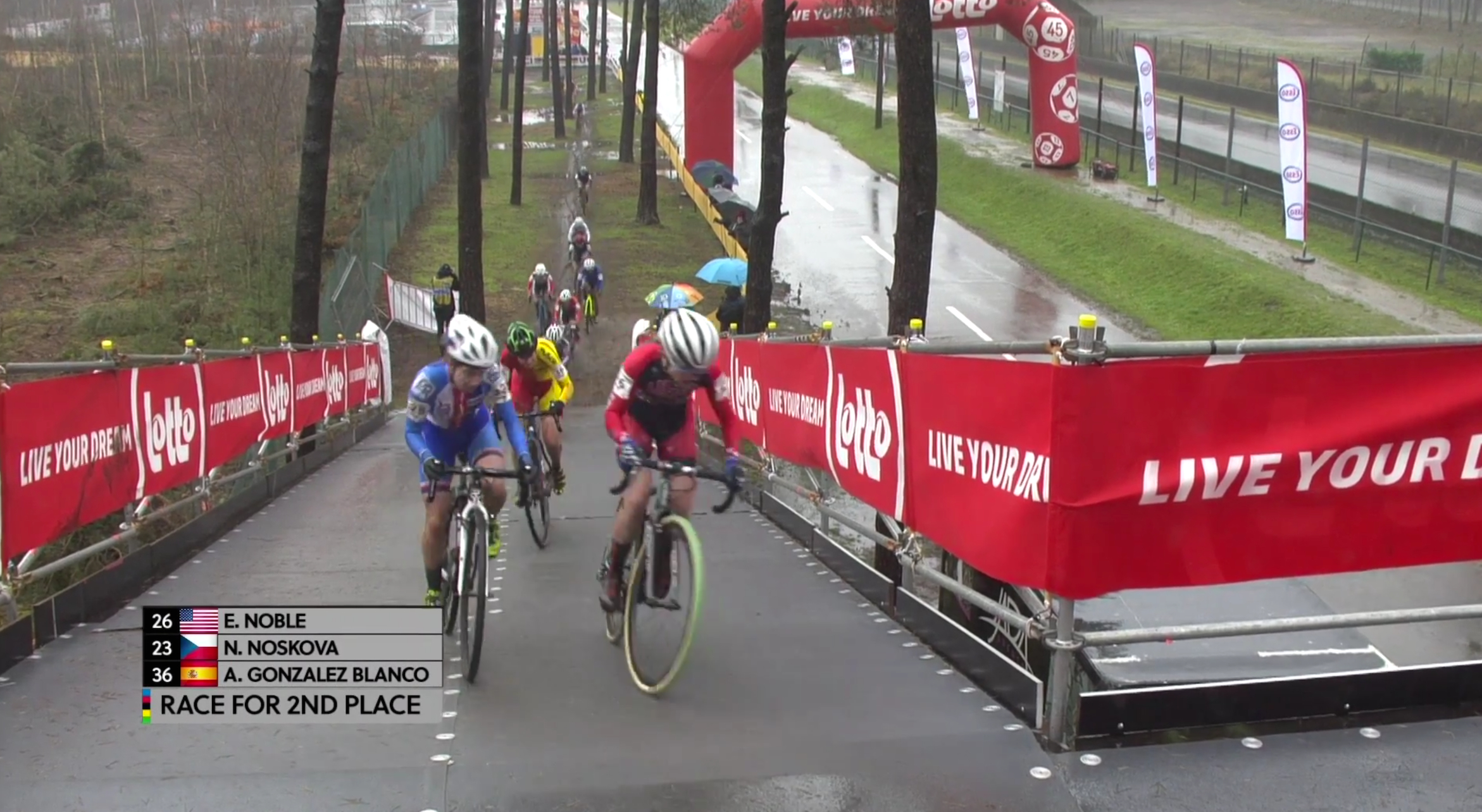 Early in the race,Ellen Noble was riding in 2nd place. She eventually finished 6th.