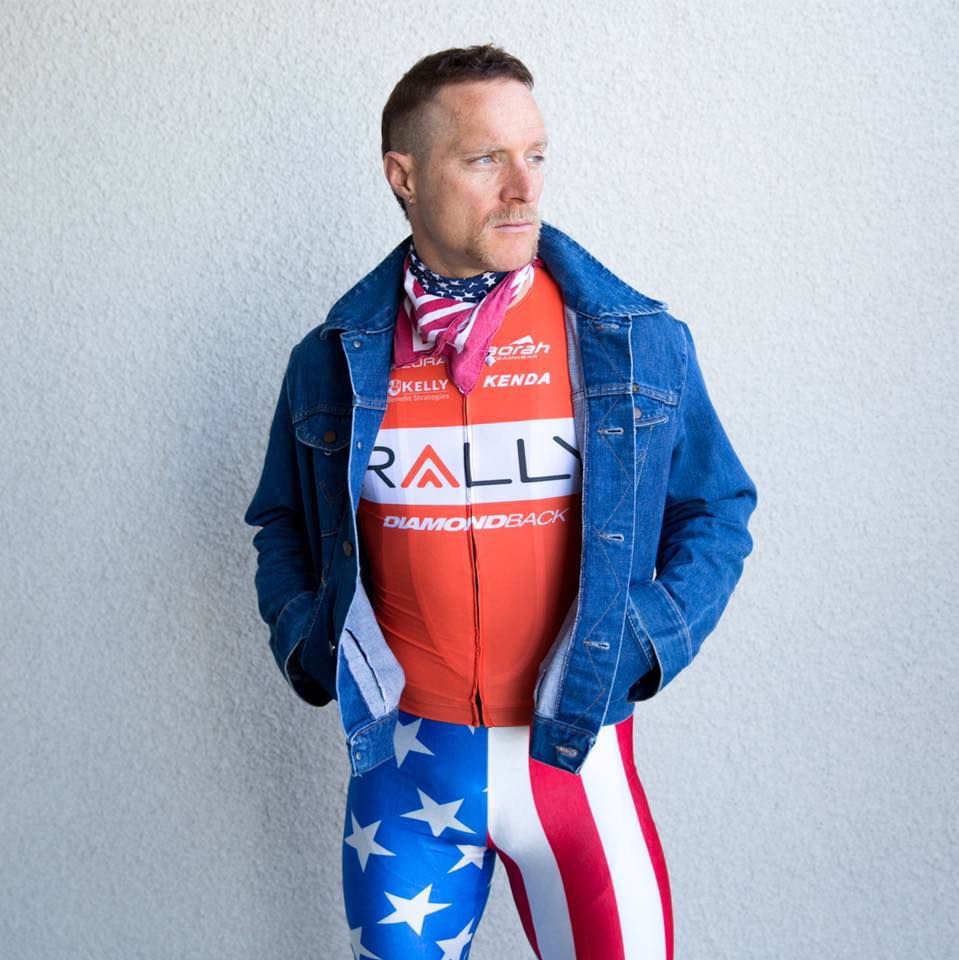 Huff posing in his Rally Cycling Team kit recently. Courtesy Brad Huff.