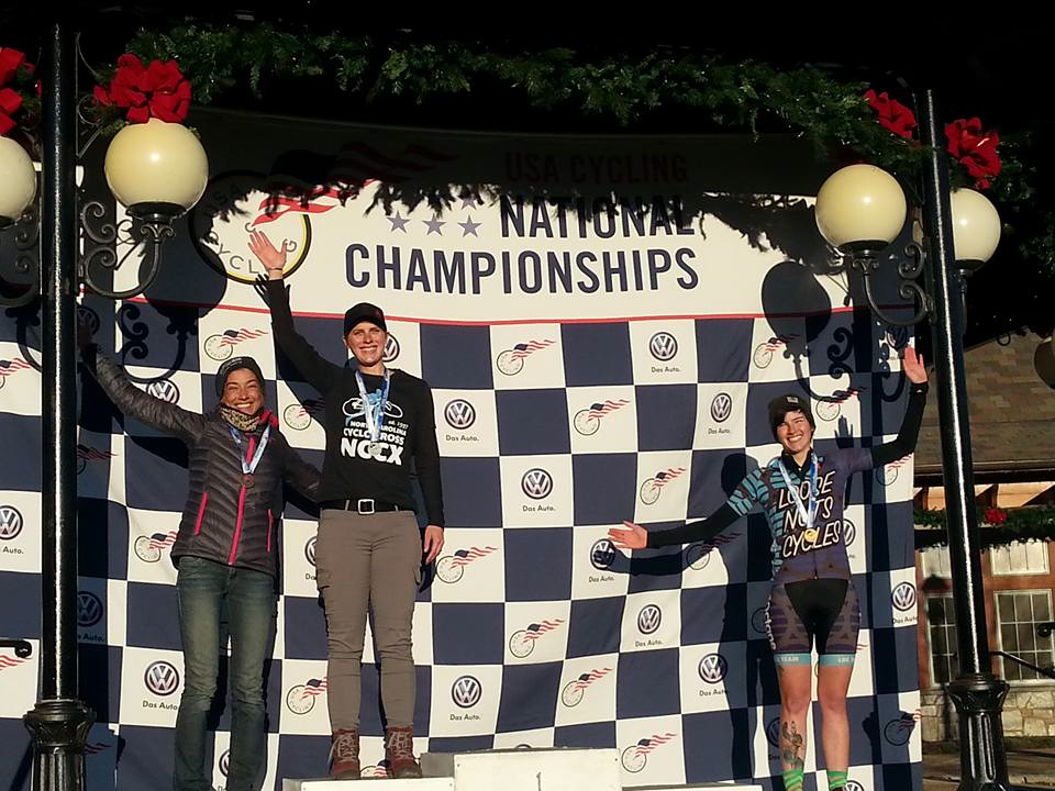 Rhys May (far right), on the podium at Cyclocross National Championships in the non-championship 23-34 race on January 5 in Ashevlle, North Carolina.