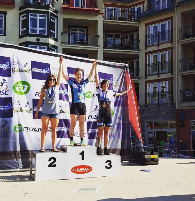 Rhys May finished third at the Canada Cup Series mountain bike race at Mt. Tremblant, Quebec on May 22. It was her first race representing the JAM Fund team.