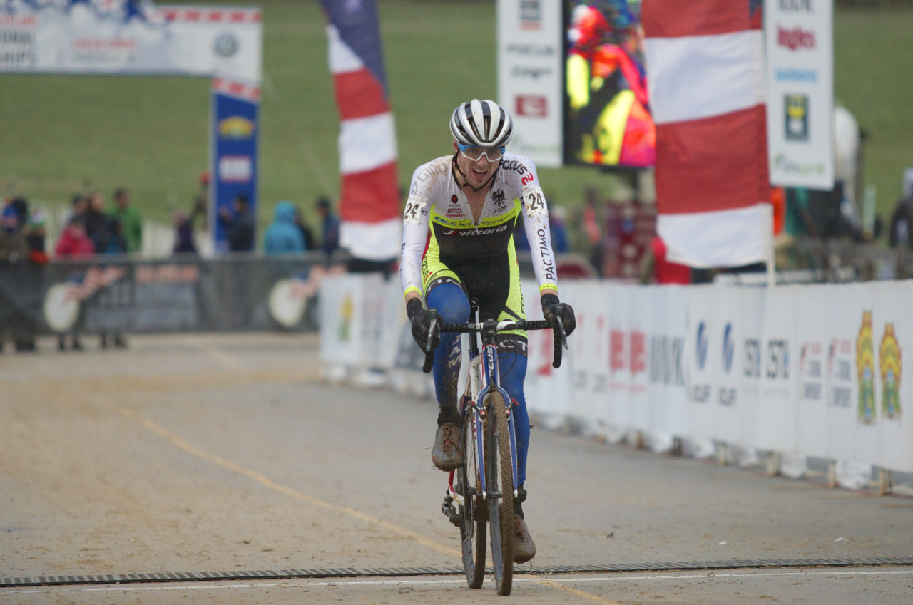 Jack Kisseberth crosses the line in 11th place at Cyclocross National Championships in Asheville, North Carolina on Jan. 10. Photo by Vicky Sama.