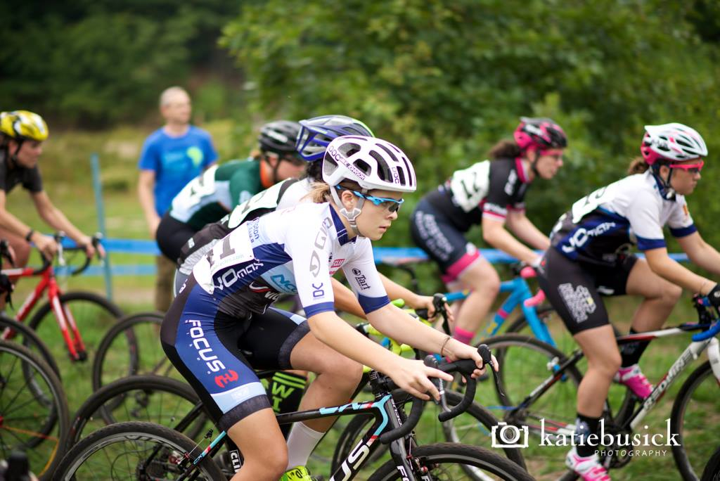 Katie Johnson (center) and Anna Savage (right) gunning it from the start at the Quad Cx on Sunday. Photo by Katie Busick.