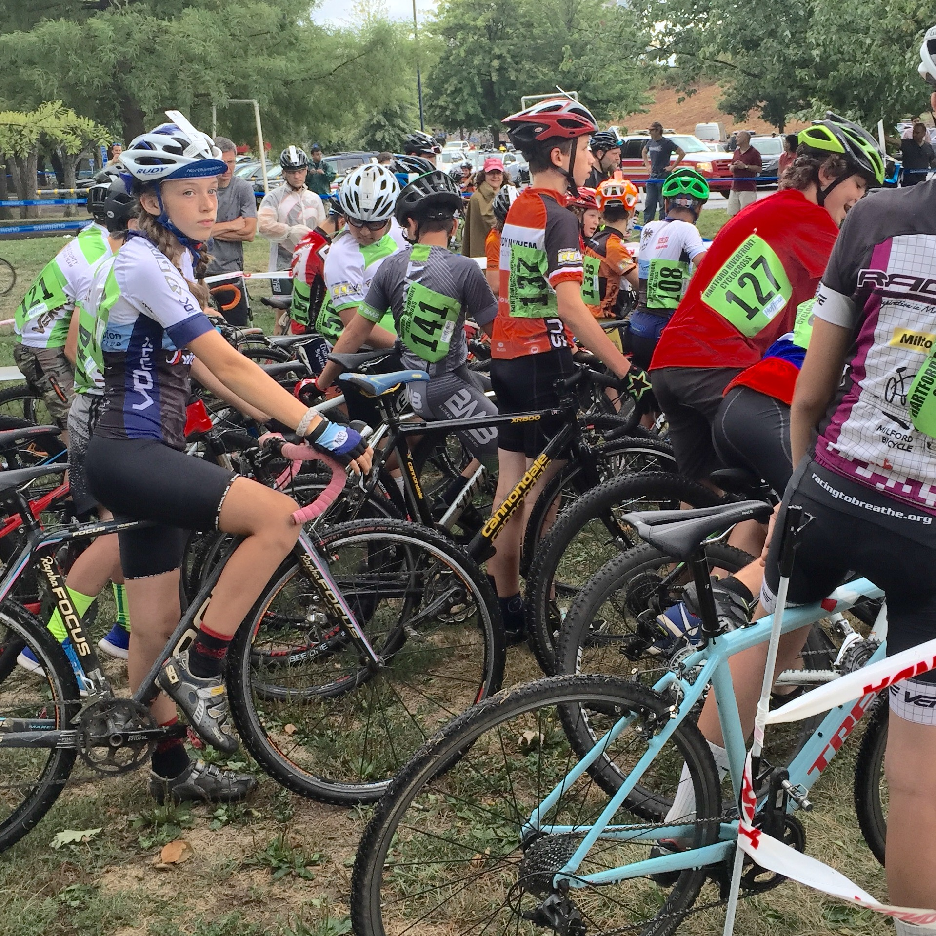Mira Fowler ready at the start of the juniors 13-15 race at Silk City on Saturday. Photo by Jeff Fowler.
