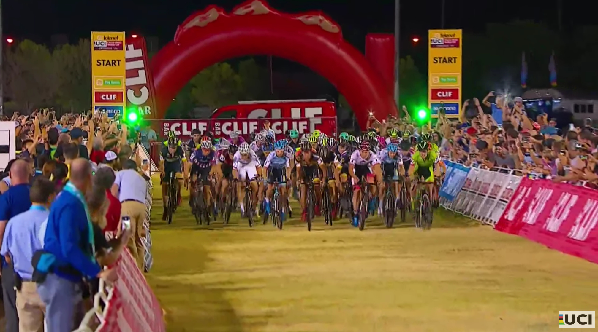 Fifty-eight riders sprint at the blistering start of the men's race at Cross Vegas World Cup on Wednesday night.Look closely over the shoulder of the world champion in white and you'll see Scott Smith in his white Kask helmet.