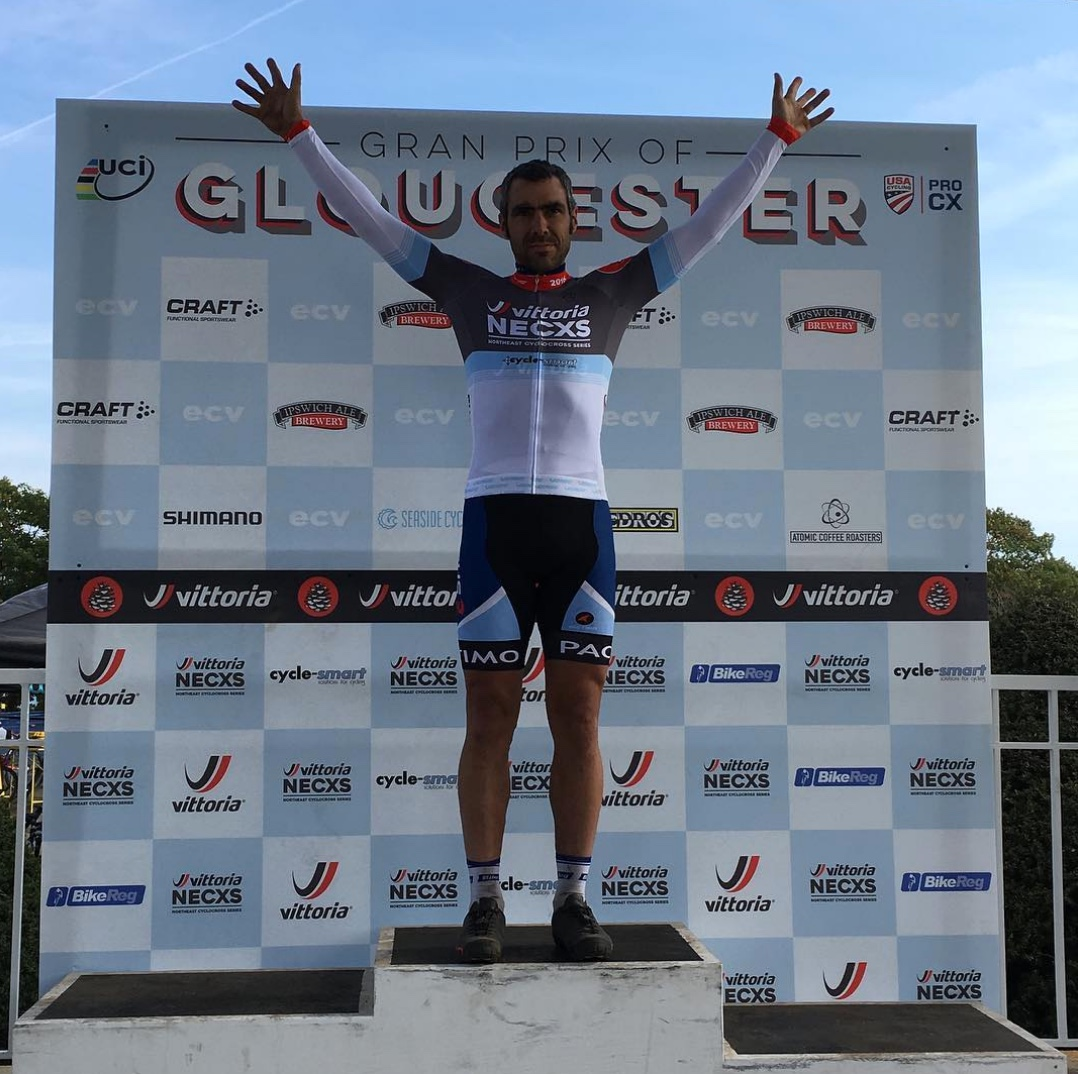 Coach Al Donahue won the masters 35+ on Sunday after getting 3rd on Saturday, earning him the series leader's jersey.