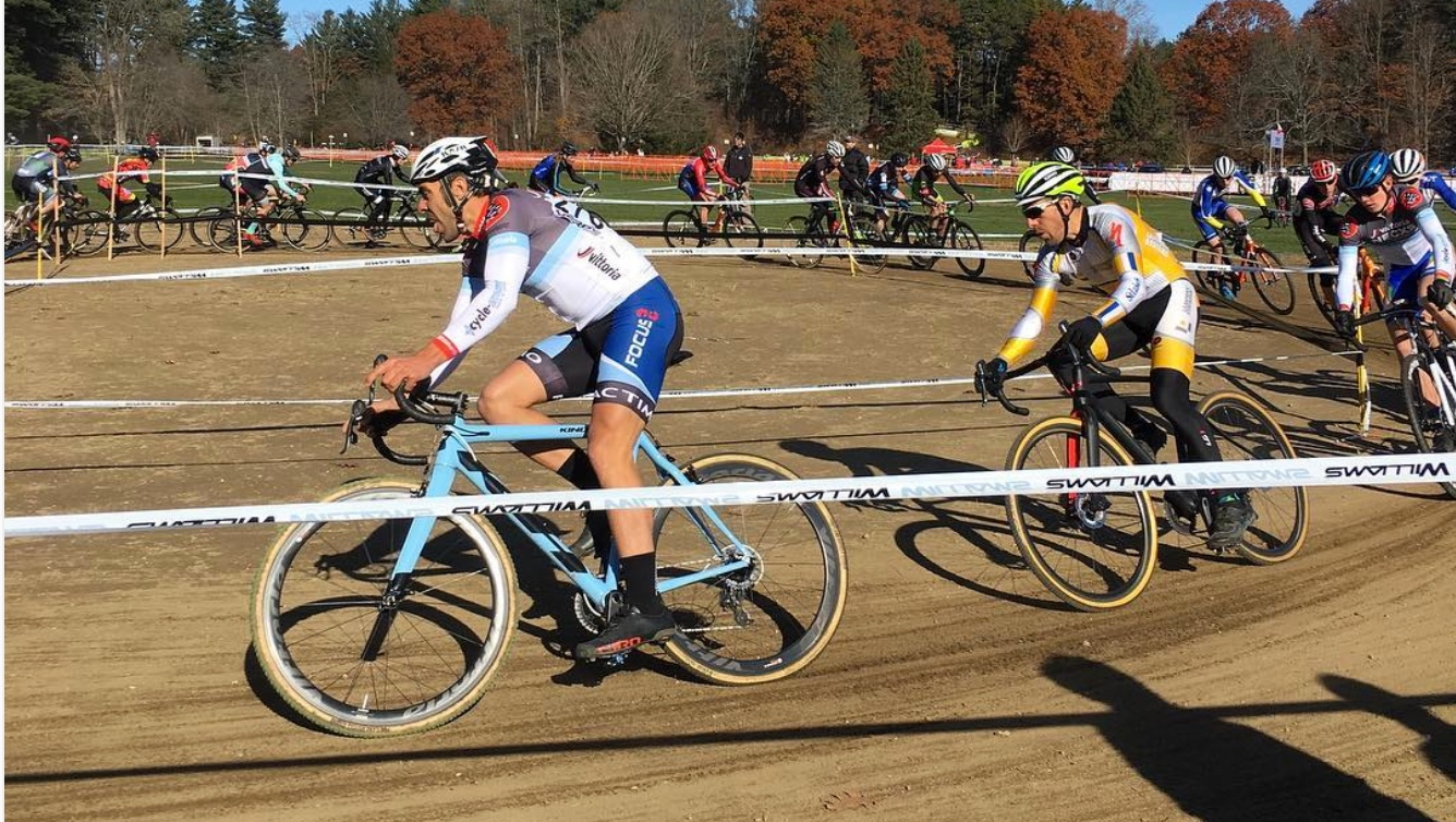 JAM Fund Coach Al Donahue led the charge of the 35+ race on day one. He rallied to fourth place on Saturday, and on Sunday he finished sixth.Photo by Northampton Cyclocross International.