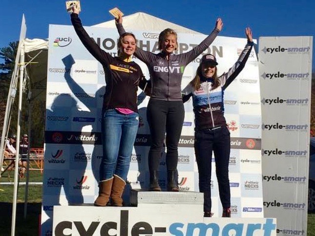 Katie Johnson (right) finished third in the Cat 4 junior women's 15-18 on Sunday.