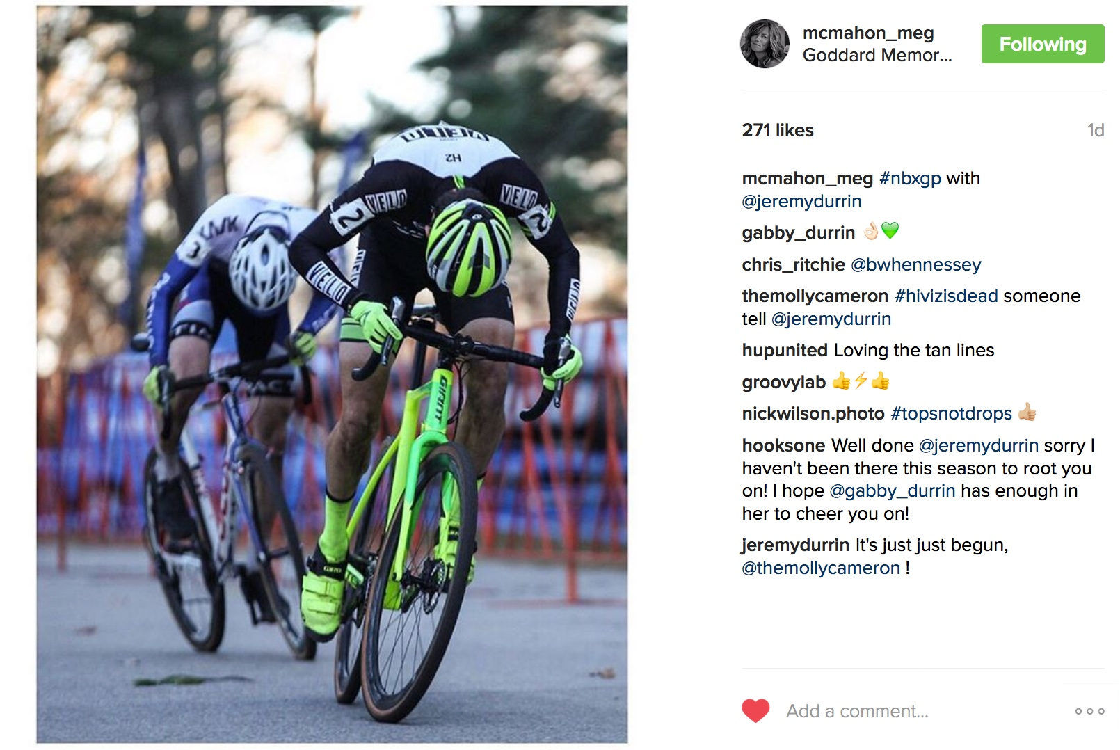 Talented cycling photographer Meg McMahon captured the finishing sprint between Jack Kisseberth and Jeremy Durrin on day one of the Gran Prix of Cyclocross.