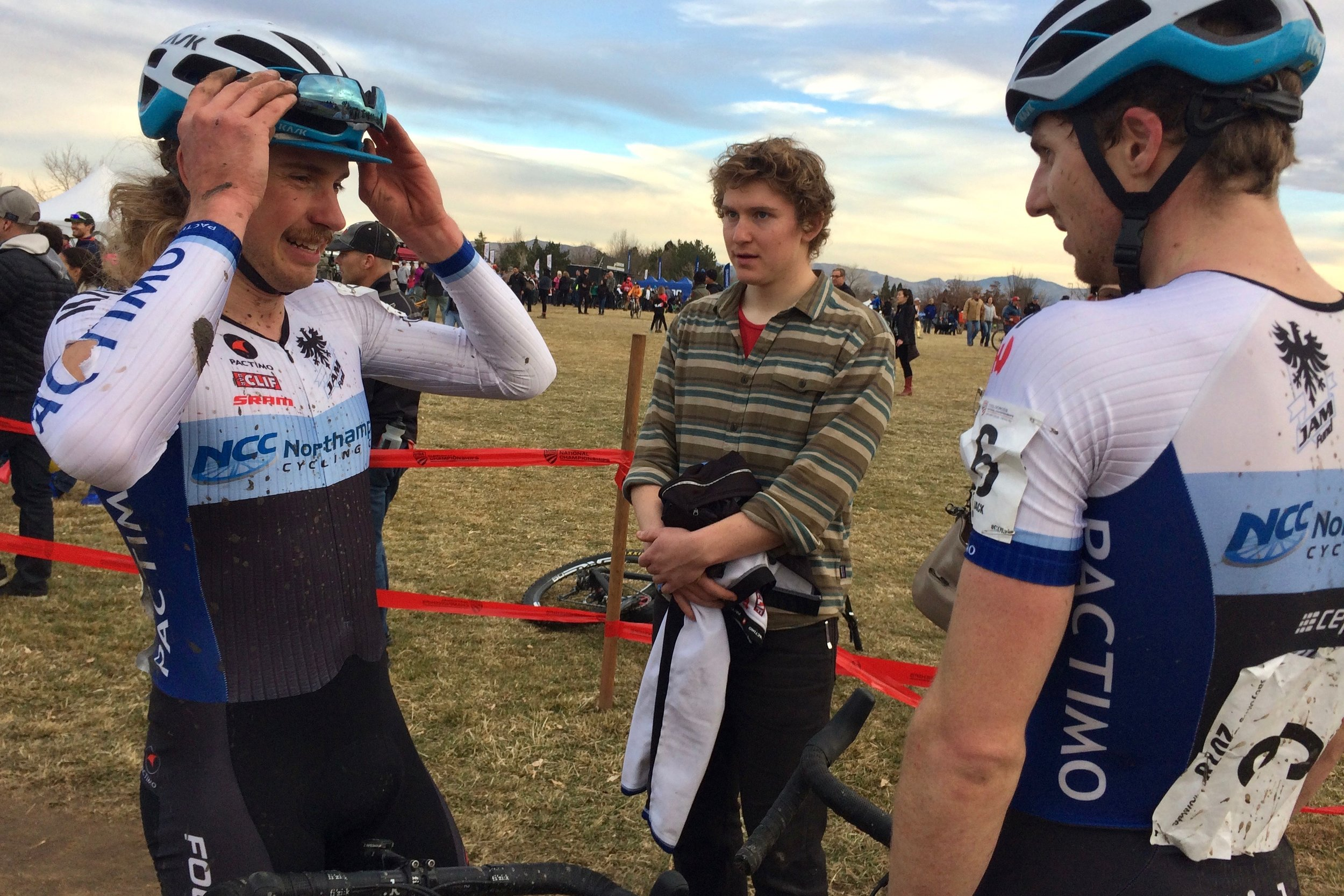 At the end of a wickedly hard and eventful nationals race, Scott Smith and Jack Kisseberth are greeted by teammate Kale Wenzcel who raced earlier in the day. Photo by Vicky Sama.