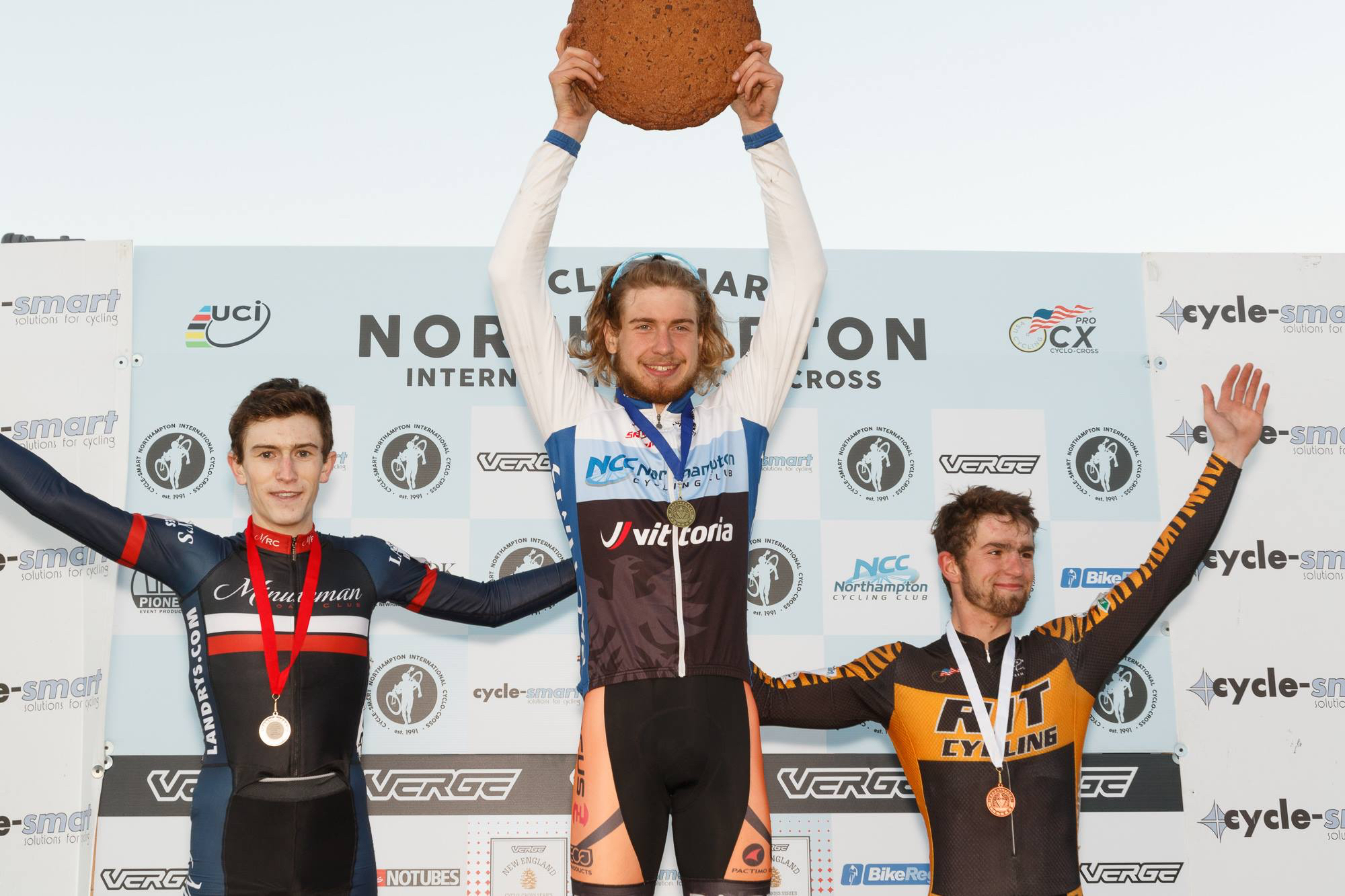 During a banner year, Smith wins the U23 at Verge Northampton International Cyclocross on Nov. 8, 2015. Photo courtesy of Cycle-Smart.