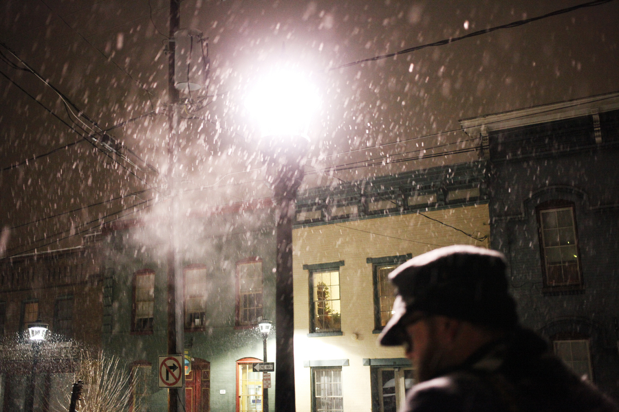 Pat Jarrett walks through the snow on Feb. 12, 2014, in Staunton.
