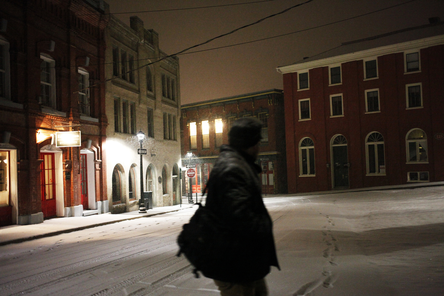 Pat Jarrett walks along Middlebrook Avenue on Feb. 12, 2014, in Staunton.
