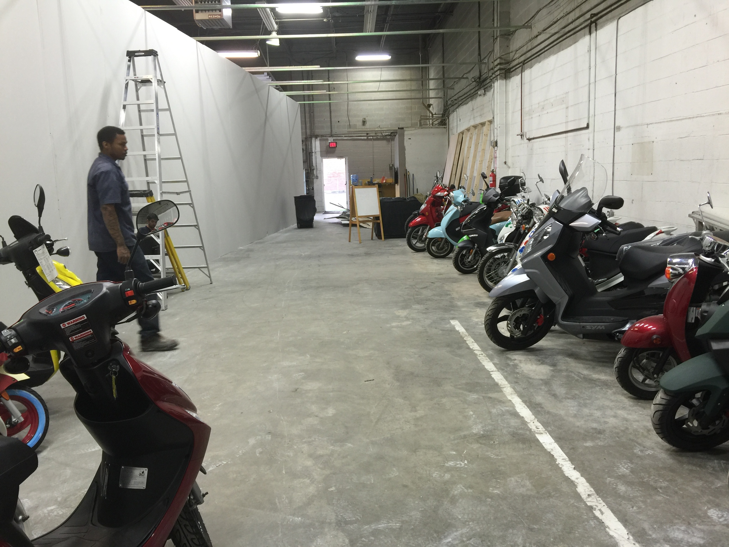 Getting things into place! This is our future showroom. The wall is up!