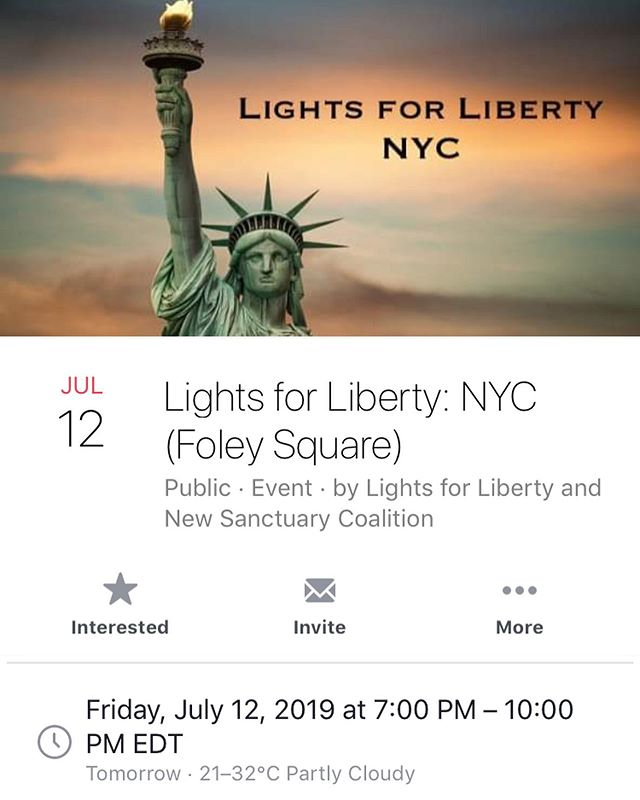 Hey! Tomorrow there are events across the USA against the concentration prisons at the border. This is one of the events in New York, but check out the website to find some an event near you! #lightsforliberty #CloseTheCamps