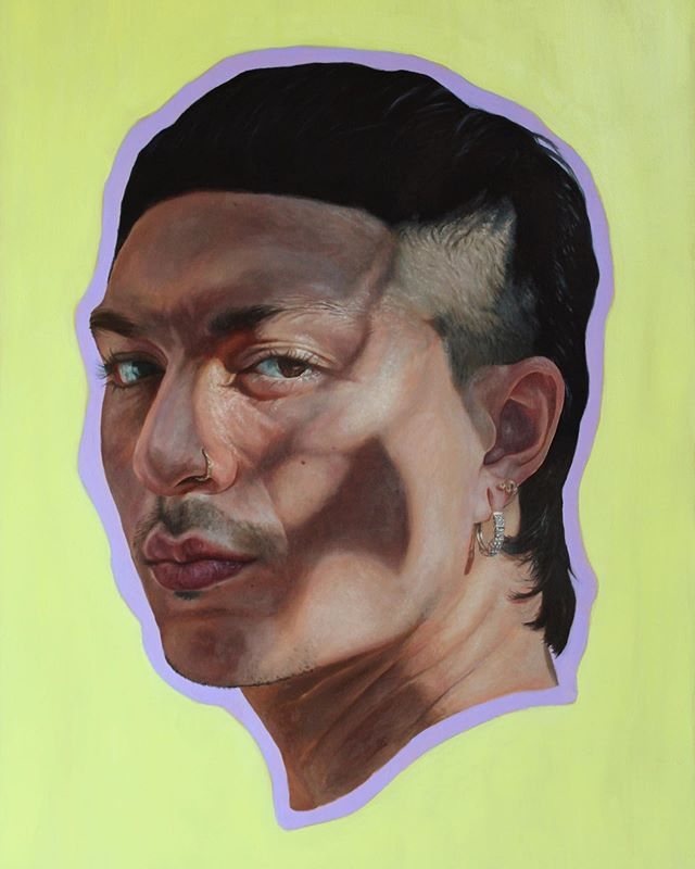 """Julian (Lilac and Honey). Oil on wood, 18"""" by 24"""". This one was fun to work on and see through. I'm also thinking of new paintings and feeling invigorated by that — looking for muses, models, inspiration.  I'm also a bit frustrated with Instagram these days as I'm clearly shadowbanned and it makes engaging with the platform a bit... not fun. So might not be around on this account as I work on new things."""