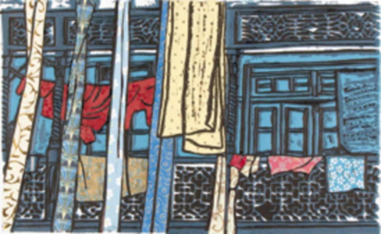 "Balcony - Udaipur Lino   Linoprint with collage  15"" x 10"""