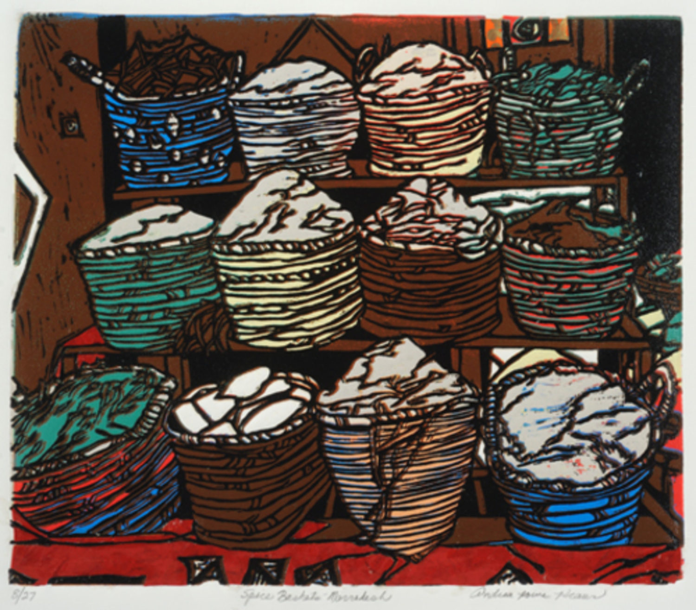 "Spice Market Marrakesh   Linoprint/collage  11"" x 13"""