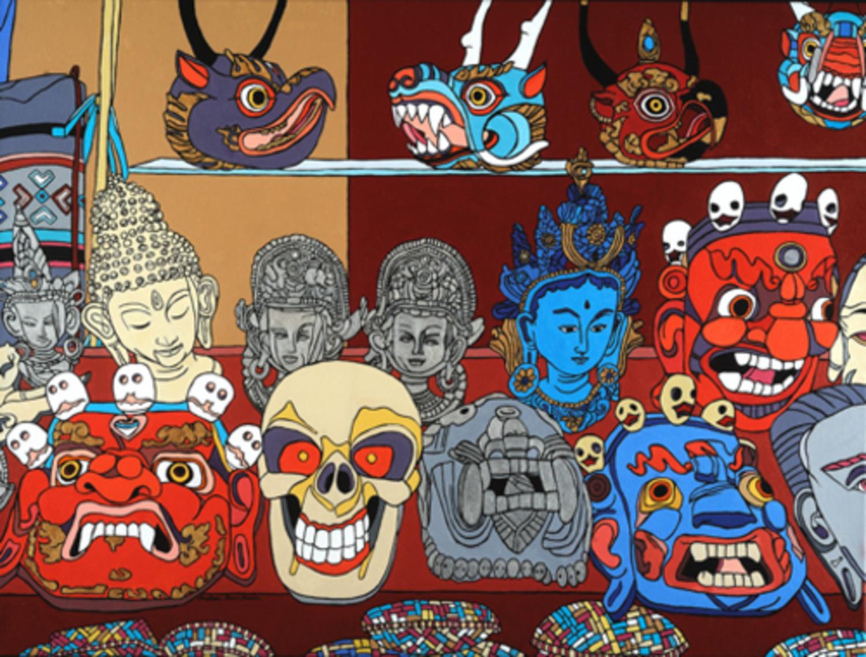 "Garuda and Other Masks of Bhutan   Acrylic on Canvas  30"" x 40"""
