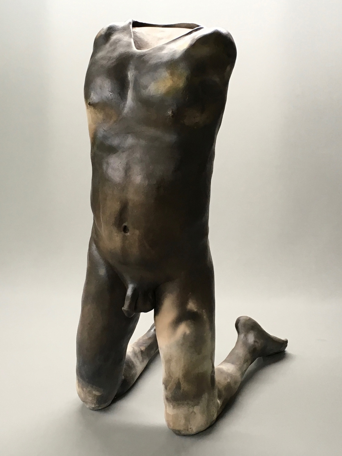 """Chris Corson, Call Heaven and Earth to Witness, Pit-Fired Ceramic, 26""""x12""""x17"""", 2017"""