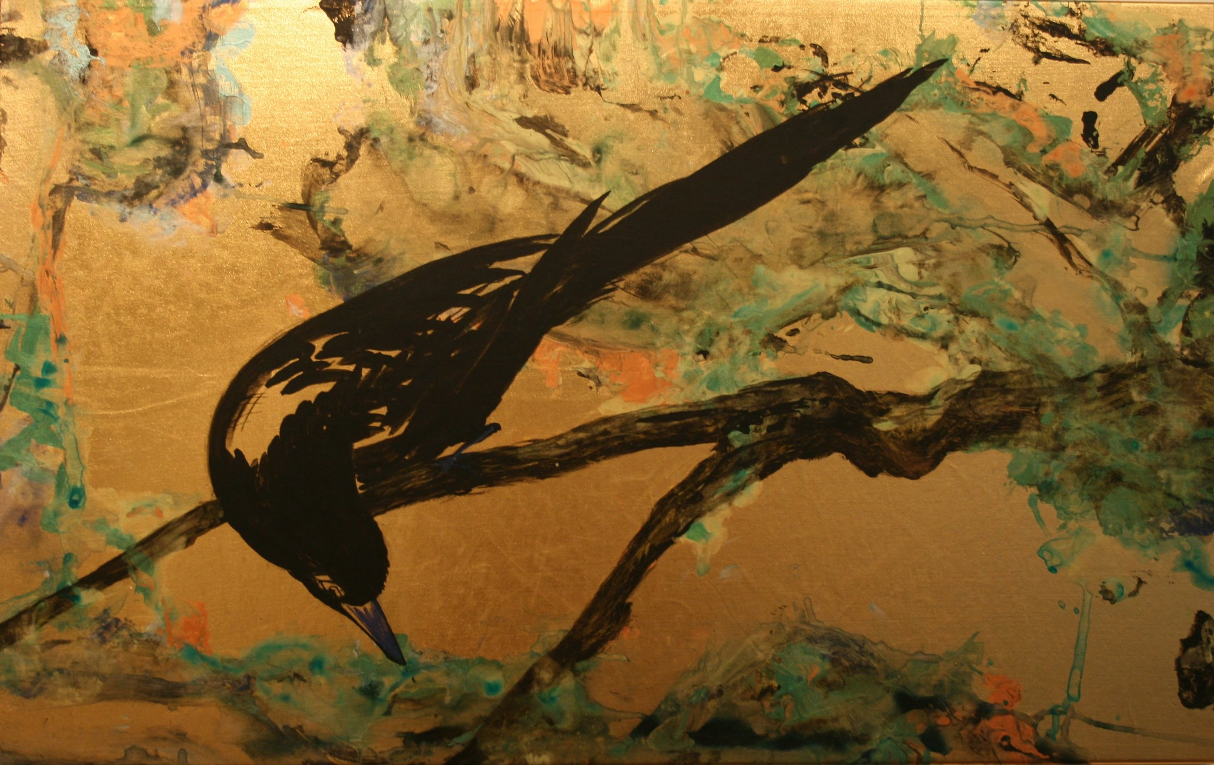 "Magpie in Wilderness   Acrylic on gold lamé  17"" x 27""  SOLD"